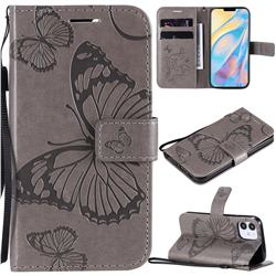 Embossing 3D Butterfly Leather Wallet Case for iPhone 12 (5.4 inch) - Gray