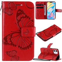 Embossing 3D Butterfly Leather Wallet Case for iPhone 12 (5.4 inch) - Red