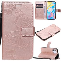Embossing 3D Butterfly Leather Wallet Case for iPhone 12 (5.4 inch) - Rose Gold