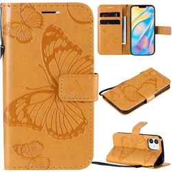 Embossing 3D Butterfly Leather Wallet Case for iPhone 12 (5.4 inch) - Yellow