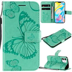 Embossing 3D Butterfly Leather Wallet Case for iPhone 12 (5.4 inch) - Green