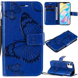 Embossing 3D Butterfly Leather Wallet Case for iPhone 12 (5.4 inch) - Blue