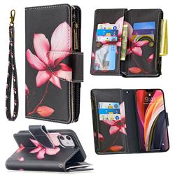 Lotus Flower Binfen Color BF03 Retro Zipper Leather Wallet Phone Case for iPhone 12 (5.4 inch)