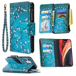 Blue Plum Binfen Color BF03 Retro Zipper Leather Wallet Phone Case for iPhone 12 (5.4 inch)