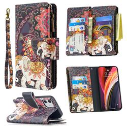 Totem Flower Elephant Binfen Color BF03 Retro Zipper Leather Wallet Phone Case for iPhone 12 (5.4 inch)