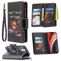 Chainsaw Bear Binfen Color BF03 Retro Zipper Leather Wallet Phone Case for iPhone 12 (5.4 inch)