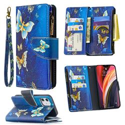 Golden Butterflies Binfen Color BF03 Retro Zipper Leather Wallet Phone Case for iPhone 12 (5.4 inch)