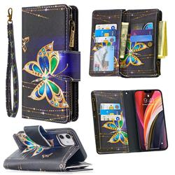 Golden Shining Butterfly Binfen Color BF03 Retro Zipper Leather Wallet Phone Case for iPhone 12 (5.4 inch)