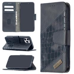 BinfenColor BF04 Color Block Stitching Crocodile Leather Case Cover for iPhone 12 (5.4 inch) - Black