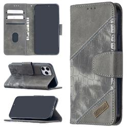 BinfenColor BF04 Color Block Stitching Crocodile Leather Case Cover for iPhone 12 (5.4 inch) - Gray