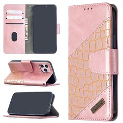 BinfenColor BF04 Color Block Stitching Crocodile Leather Case Cover for iPhone 12 (5.4 inch) - Rose Gold