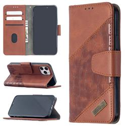BinfenColor BF04 Color Block Stitching Crocodile Leather Case Cover for iPhone 12 (5.4 inch) - Brown