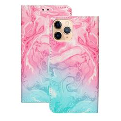 Pink Green Marble PU Leather Wallet Case for iPhone 12 (5.4 inch)