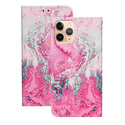 Pink Seawater PU Leather Wallet Case for iPhone 12 (5.4 inch)