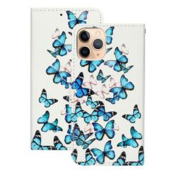 Blue Vivid Butterflies PU Leather Wallet Case for iPhone 12 (5.4 inch)