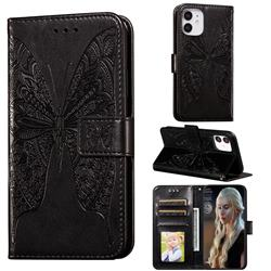 Intricate Embossing Vivid Butterfly Leather Wallet Case for iPhone 12 (5.4 inch) - Black