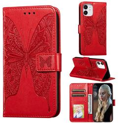 Intricate Embossing Vivid Butterfly Leather Wallet Case for iPhone 12 mini (5.4 inch) - Red