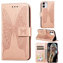 Intricate Embossing Vivid Butterfly Leather Wallet Case for iPhone 12 (5.4 inch) - Rose Gold