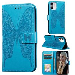 Intricate Embossing Vivid Butterfly Leather Wallet Case for iPhone 12 mini (5.4 inch) - Blue