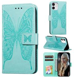 Intricate Embossing Vivid Butterfly Leather Wallet Case for iPhone 12 (5.4 inch) - Green