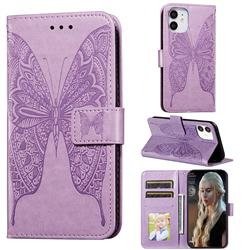 Intricate Embossing Vivid Butterfly Leather Wallet Case for iPhone 12 (5.4 inch) - Purple