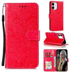 Intricate Embossing Lace Jasmine Flower Leather Wallet Case for iPhone 12 (5.4 inch) - Red