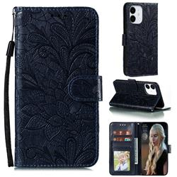 Intricate Embossing Lace Jasmine Flower Leather Wallet Case for iPhone 12 (5.4 inch) - Dark Blue