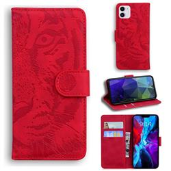 Intricate Embossing Tiger Face Leather Wallet Case for iPhone 12 mini (5.4 inch) - Red