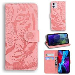 Intricate Embossing Tiger Face Leather Wallet Case for iPhone 12 mini (5.4 inch) - Pink