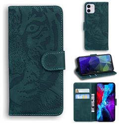 Intricate Embossing Tiger Face Leather Wallet Case for iPhone 12 mini (5.4 inch) - Green