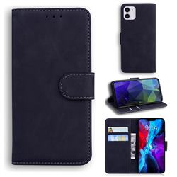 Retro Classic Skin Feel Leather Wallet Phone Case for iPhone 12 mini (5.4 inch) - Black