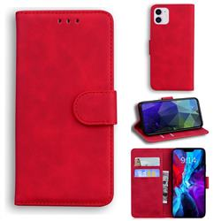 Retro Classic Skin Feel Leather Wallet Phone Case for iPhone 12 mini (5.4 inch) - Red