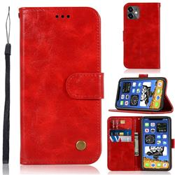 Luxury Retro Leather Wallet Case for iPhone 12 mini (5.4 inch) - Red