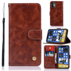 Luxury Retro Leather Wallet Case for iPhone 12 mini (5.4 inch) - Brown