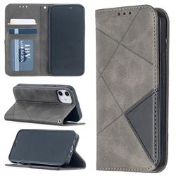 Prismatic Slim Magnetic Sucking Stitching Wallet Flip Cover for iPhone 12 mini (5.4 inch) - Gray
