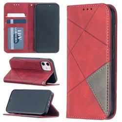 Prismatic Slim Magnetic Sucking Stitching Wallet Flip Cover for iPhone 12 mini (5.4 inch) - Red