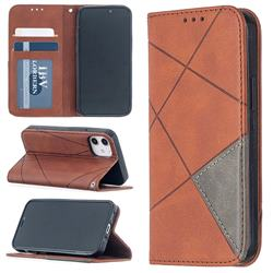 Prismatic Slim Magnetic Sucking Stitching Wallet Flip Cover for iPhone 12 mini (5.4 inch) - Brown