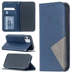 Prismatic Slim Magnetic Sucking Stitching Wallet Flip Cover for iPhone 12 mini (5.4 inch) - Blue