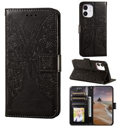 Intricate Embossing Rose Flower Butterfly Leather Wallet Case for iPhone 12 mini (5.4 inch) - Black