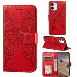 Intricate Embossing Rose Flower Butterfly Leather Wallet Case for iPhone 12 mini (5.4 inch) - Red
