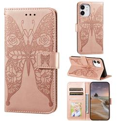 Intricate Embossing Rose Flower Butterfly Leather Wallet Case for iPhone 12 mini (5.4 inch) - Rose Gold