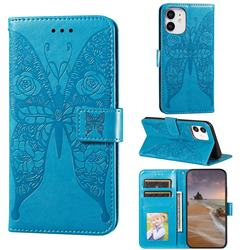Intricate Embossing Rose Flower Butterfly Leather Wallet Case for iPhone 12 mini (5.4 inch) - Blue