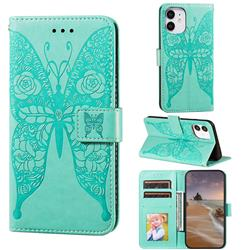 Intricate Embossing Rose Flower Butterfly Leather Wallet Case for iPhone 12 mini (5.4 inch) - Green
