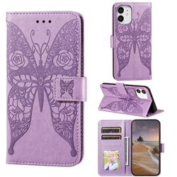 Intricate Embossing Rose Flower Butterfly Leather Wallet Case for iPhone 12 mini (5.4 inch) - Purple