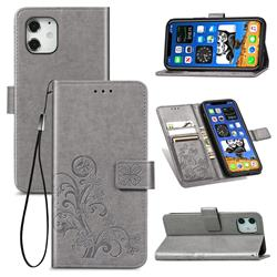 Embossing Imprint Four-Leaf Clover Leather Wallet Case for iPhone 12 mini (5.4 inch) - Grey