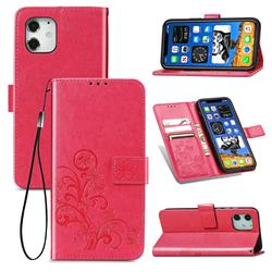 Embossing Imprint Four-Leaf Clover Leather Wallet Case for iPhone 12 mini (5.4 inch) - Rose Red