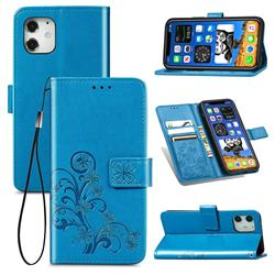 Embossing Imprint Four-Leaf Clover Leather Wallet Case for iPhone 12 mini (5.4 inch) - Blue