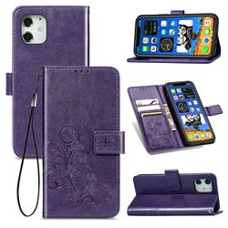 Embossing Imprint Four-Leaf Clover Leather Wallet Case for iPhone 12 mini (5.4 inch) - Purple