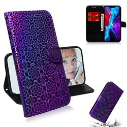 Laser Circle Shining Leather Wallet Phone Case for iPhone 12 mini (5.4 inch) - Purple