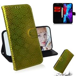 Laser Circle Shining Leather Wallet Phone Case for iPhone 12 mini (5.4 inch) - Golden